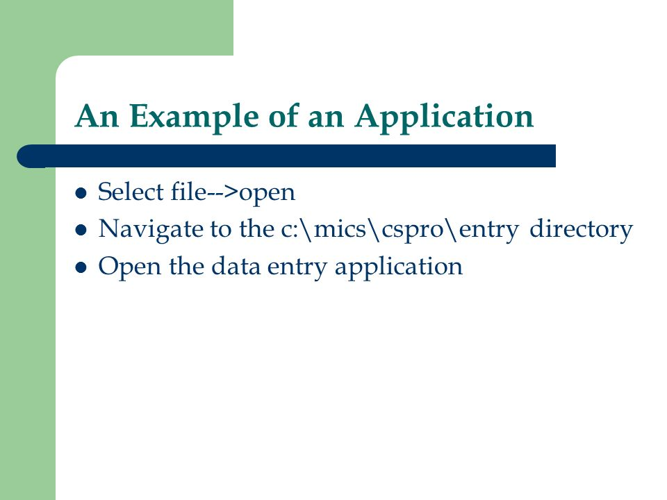 An Example of an Application Select file-->open Navigate to the c:\mics\cspro\entry directory Open the data entry application