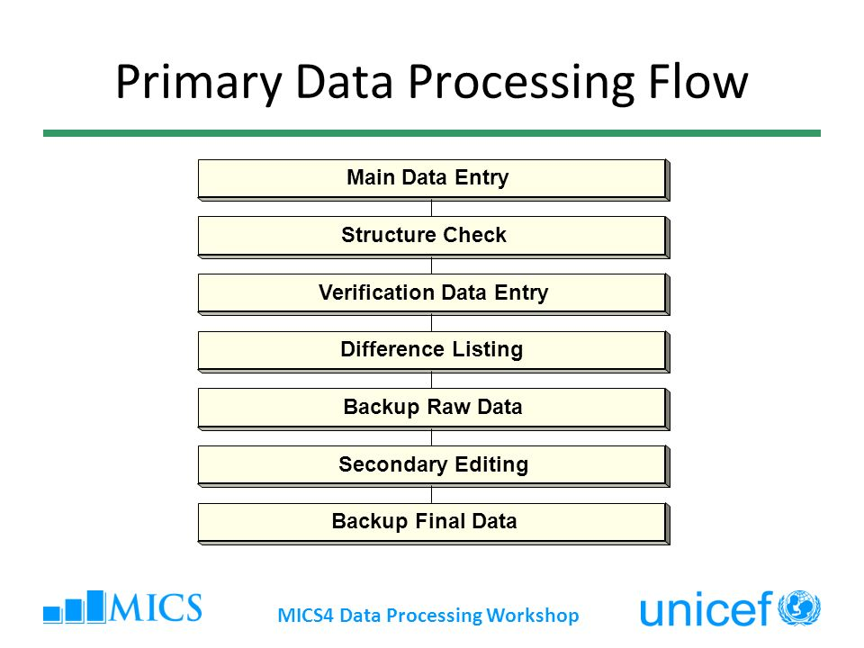 Primary Data Processing Flow Main Data Entry Structure Check Verification Data Entry Difference Listing Backup Raw Data Secondary Editing Backup Final Data MICS4 Data Processing Workshop