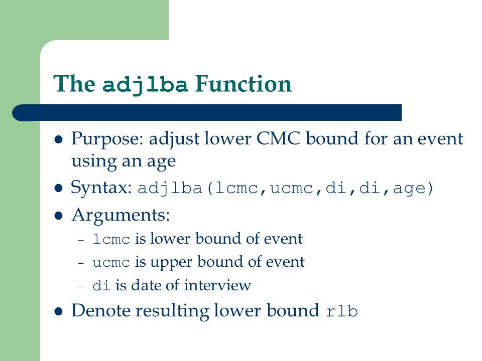 The adjlba Function Returns: – if rlb >= lcmc and rlb <= ucmc : rlb – if rlb < lcmc : lcmc – if rlb > ucmc : -1 Calculates: – rlb = di - age*12 - 11 – i.e., calculate minimum date of birth