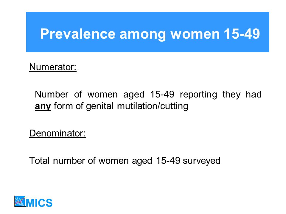 Prevalence among women 15-49 Numerator: Number of women aged 15-49 reporting they had any form of genital mutilation/cutting Denominator: Total number of women aged 15-49 surveyed