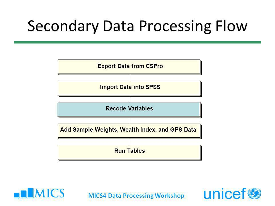 Secondary Data Processing Flow Export Data from CSPro Import Data into SPSS Recode Variables Add Sample Weights, Wealth Index, and GPS Data Run Tables