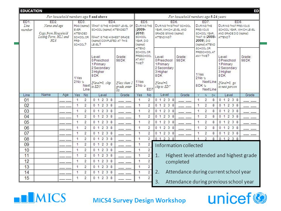 MICS4 Survey Design Workshop Methodological issues – points to note The importance of estimation of age & eligibility of children to different levels of education Timing of survey versus the school year is important Proper customization is critical If non-formal education is prevalent, this should be reflected in the module – as separate questions