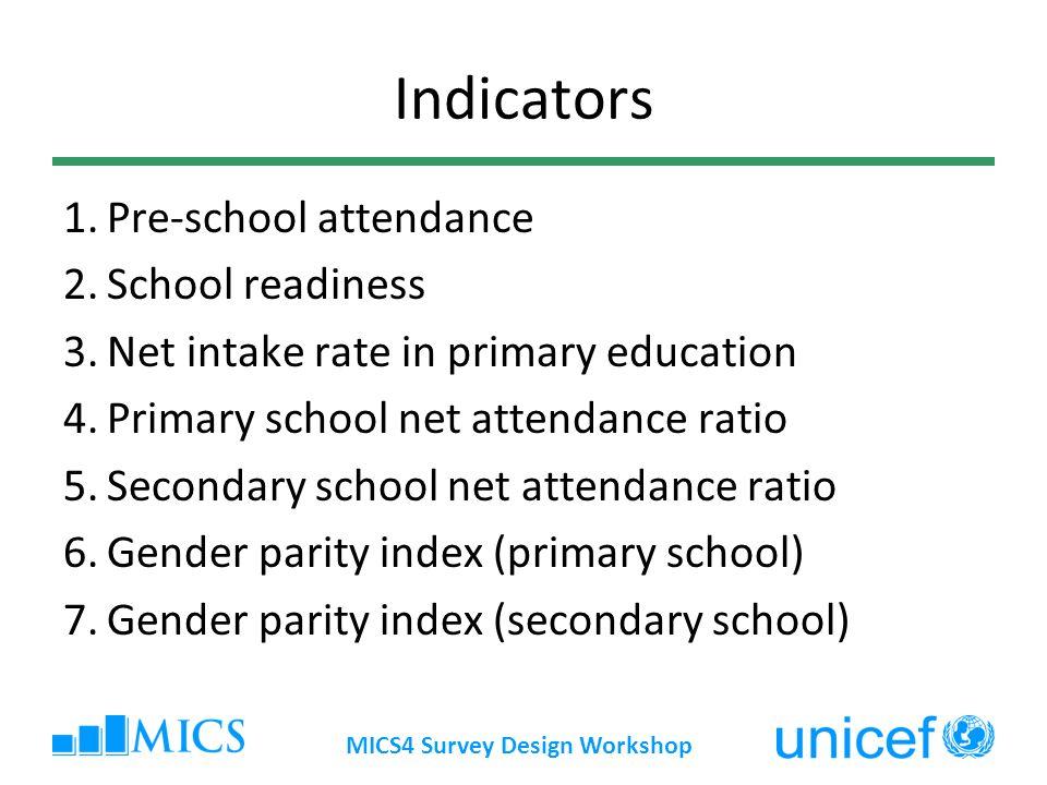 MICS4 Survey Design Workshop Indicators 8.Children reaching last grade of primary 9.