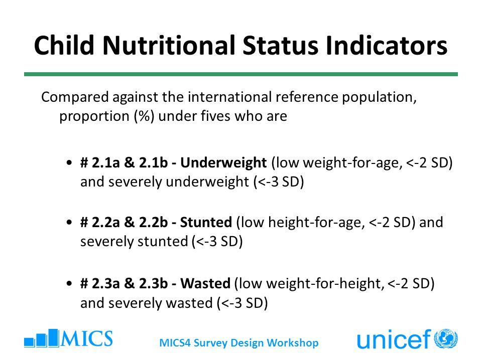 MICS4 Survey Design Workshop Child Nutritional Status Indicators Compared against the international reference population, proportion (%) under fives w