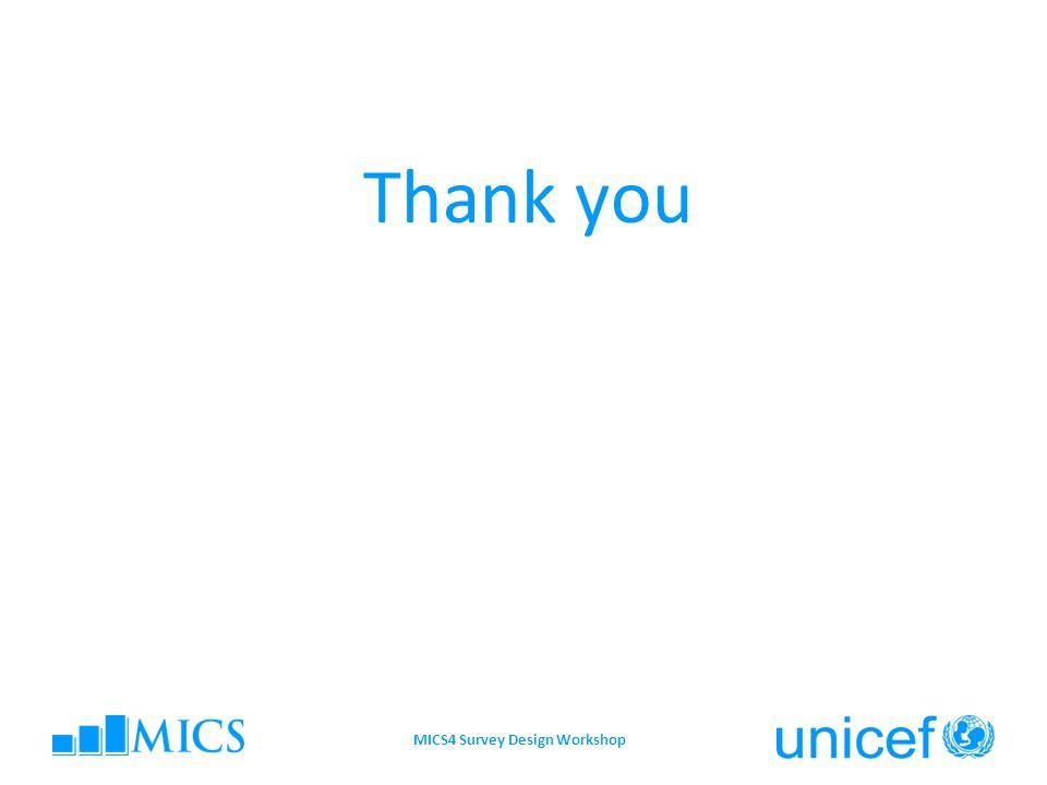 Thank you MICS4 Survey Design Workshop