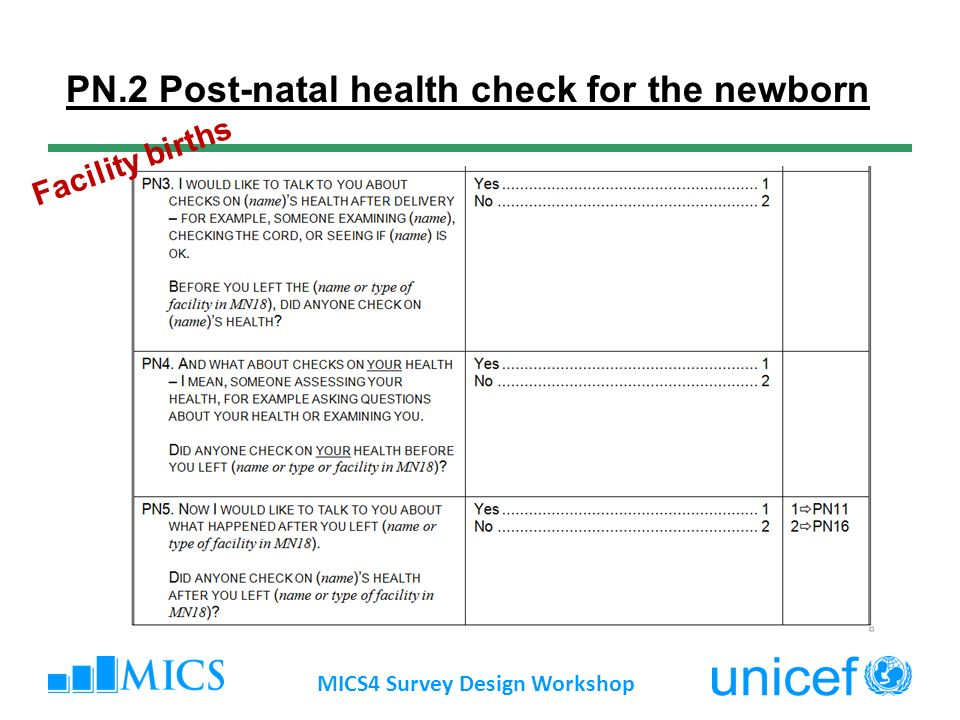 MICS4 Survey Design Workshop PN.2 Post-natal health check for the newborn Facility births