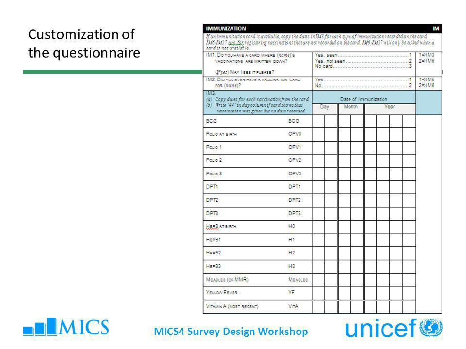 Customization of the questionnaire