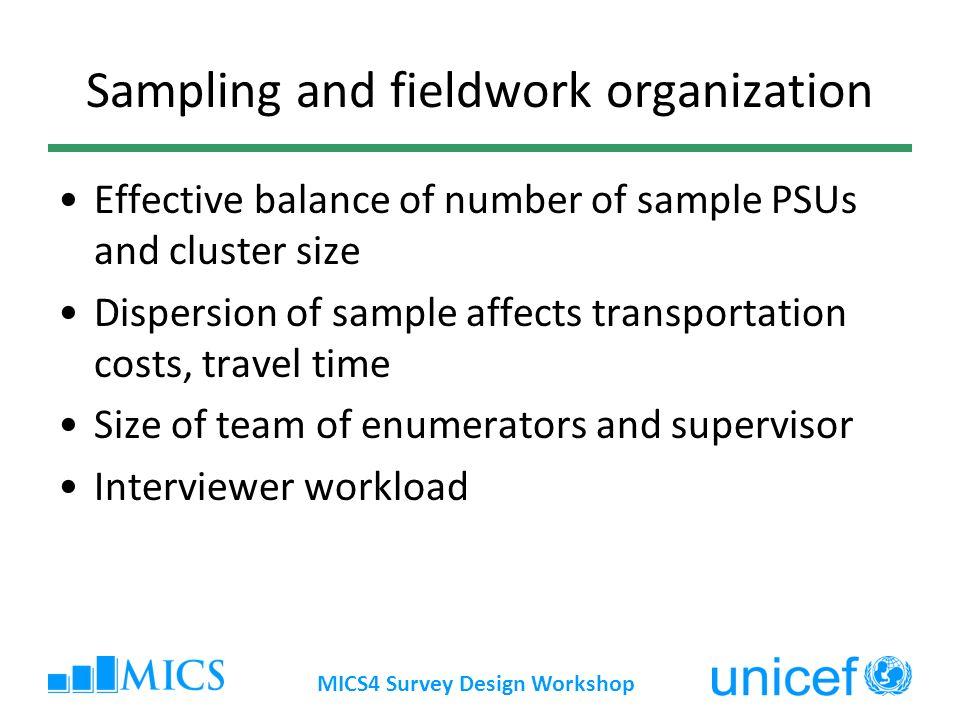 MICS4 Survey Design Workshop Sampling and fieldwork organization Effective balance of number of sample PSUs and cluster size Dispersion of sample affe