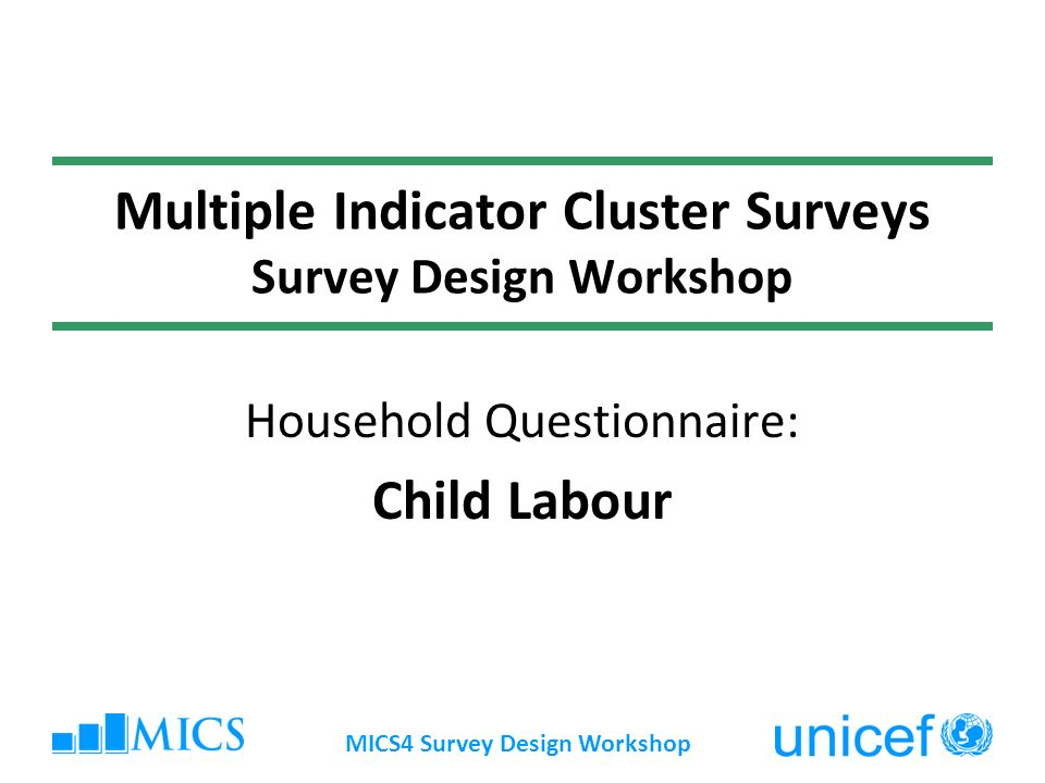 MICS4 Survey Design Workshop Multiple Indicator Cluster Surveys Survey Design Workshop Household Questionnaire: Child Labour