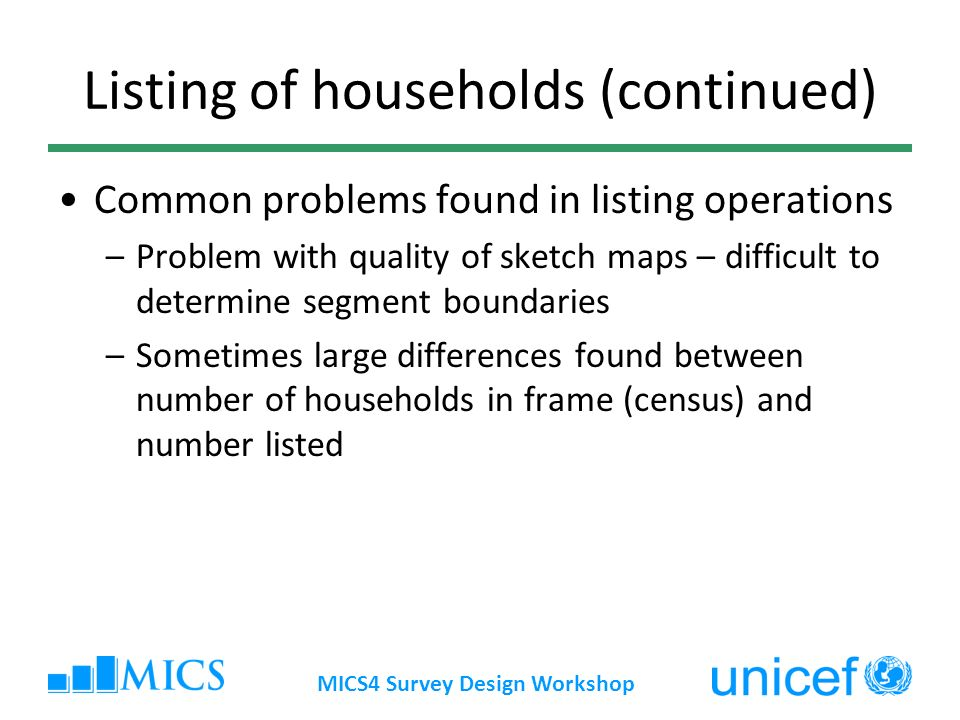 MICS4 Survey Design Workshop Listing of households (continued) Common problems found in listing operations –Problem with quality of sketch maps – diff