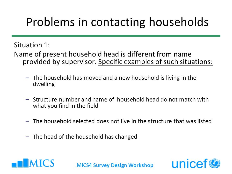 Problems in contacting households Situation 1: Name of present household head is different from name provided by supervisor.