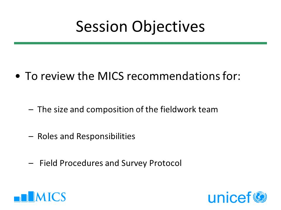 Session Objectives To review the MICS recommendations for: –The size and composition of the fieldwork team –Roles and Responsibilities – Field Procedures and Survey Protocol