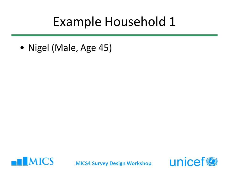 MICS4 Survey Design Workshop Example Household 1 Nigel (Male, Age 45)