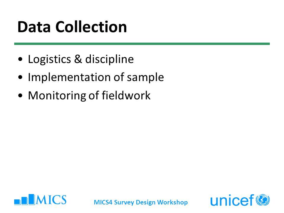 MICS4 Survey Design Workshop Data Collection Logistics & discipline Implementation of sample Monitoring of fieldwork