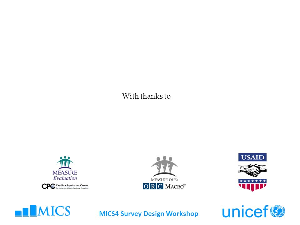 MICS4 Survey Design Workshop With thanks to