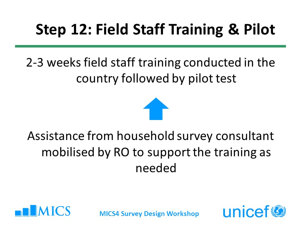 2-3 weeks field staff training conducted in the country followed by pilot test Assistance from household survey consultant mobilised by RO to support the training as needed MICS4 Survey Design Workshop Step 12: Field Staff Training & Pilot