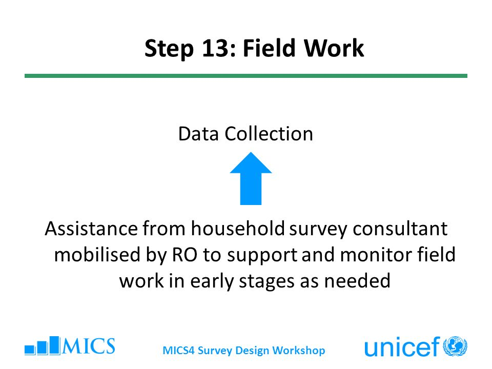 Data Collection Assistance from household survey consultant mobilised by RO to support and monitor field work in early stages as needed MICS4 Survey Design Workshop Step 13: Field Work