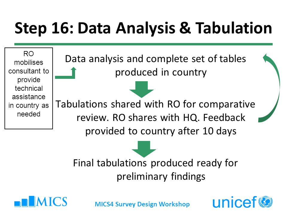 Data analysis and complete set of tables produced in country Tabulations shared with RO for comparative review.