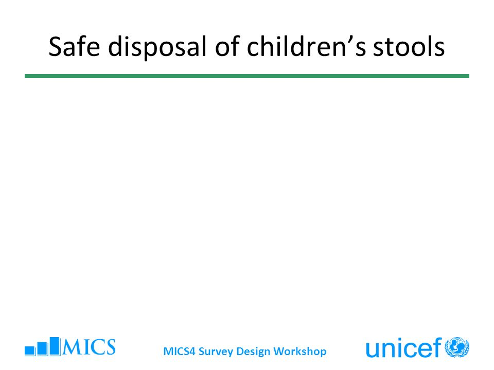 MICS4 Survey Design Workshop Safe disposal of childrens stools