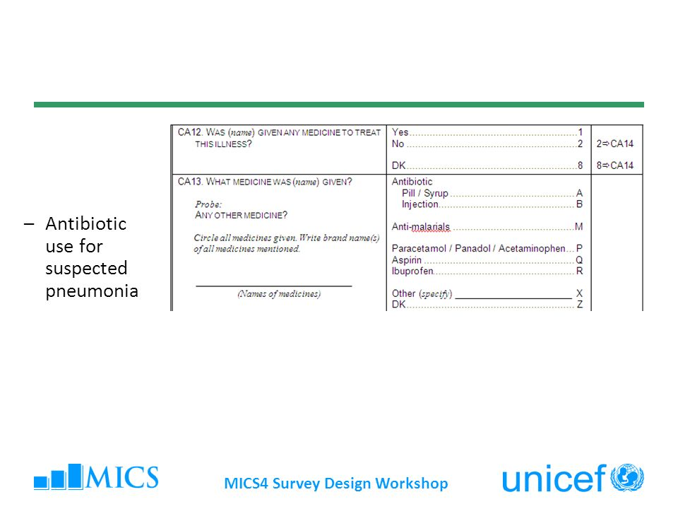 MICS4 Survey Design Workshop Method issues (Pneumonia) Seasonality of suspected pneumonia may affect comparisons over time and across countries Does not measure timing or dosage of treatment, or type of antibiotic used Methodological work underway to assess validity of caregivers responses regarding treatment by drug type for major childhood illnesses (CHERG)