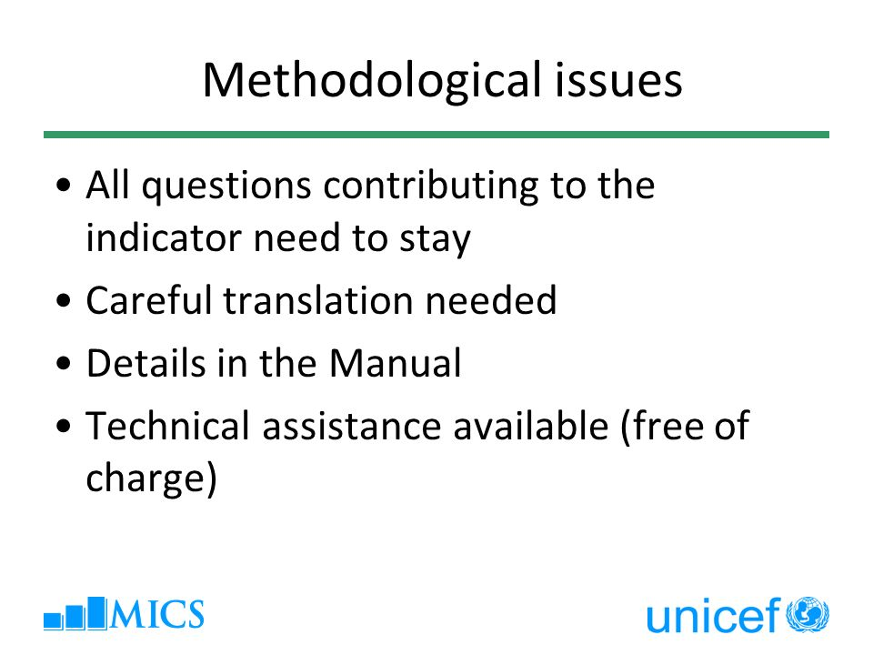 Methodological issues All questions contributing to the indicator need to stay Careful translation needed Details in the Manual Technical assistance a