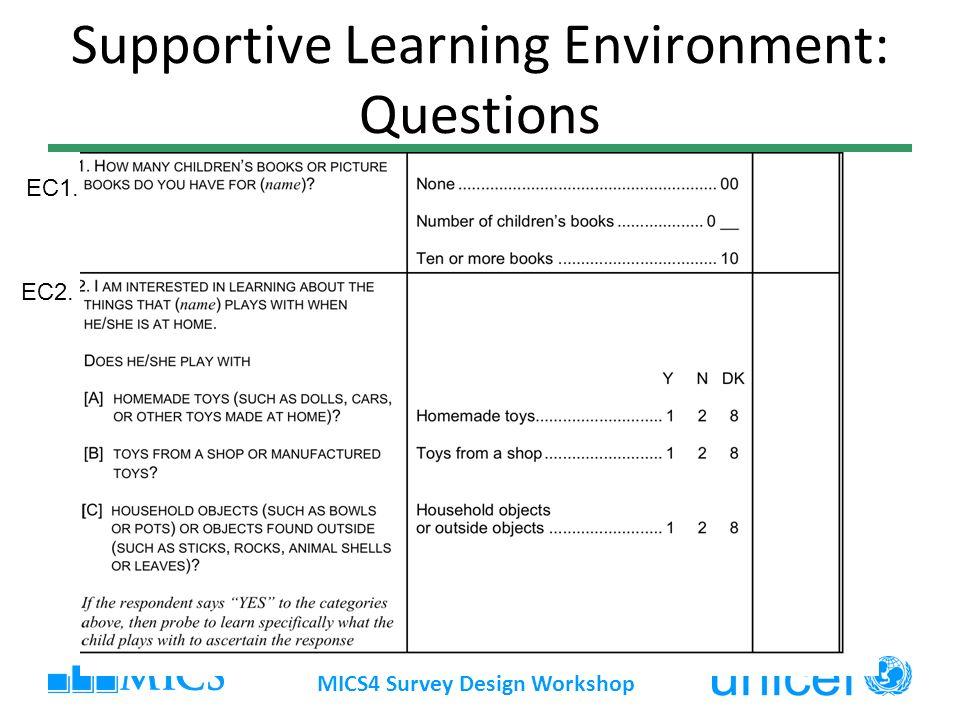 Supportive Learning Environment: Questions MICS4 Survey Design Workshop EC2. EC1.