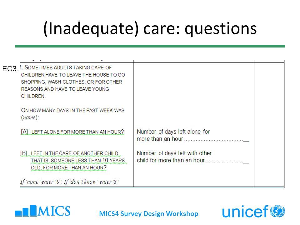 ECDI Questions EC11-12 MICS4 Survey Design Workshop