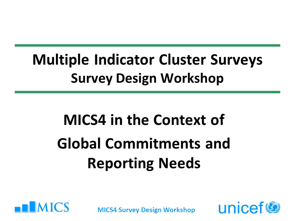 MICS4 Survey Design Workshop Presentation overview Changing monitoring context Evolution of MICS over time MICS uses at national and global levels MICS4 – new developments