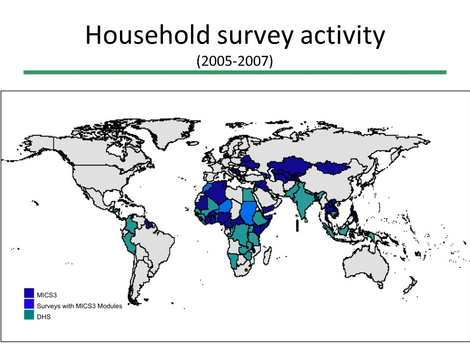 MICS4 Survey Design Workshop Evolution of data collection since 1990 (MDG baseline) Before 1990, 30 countries with data on whether undernutrition was rising or falling