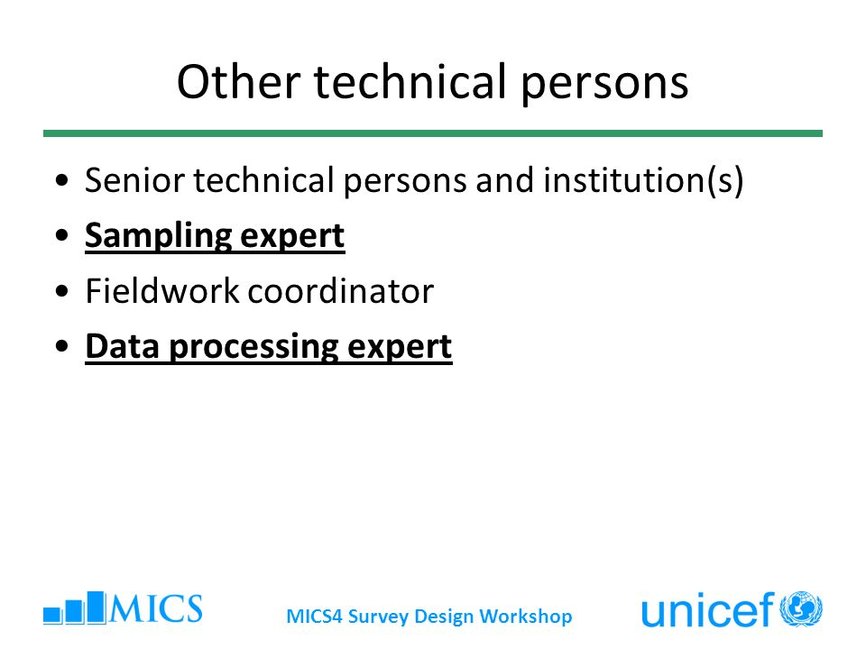 MICS4 Survey Design Workshop Other technical persons Senior technical persons and institution(s) Sampling expert Fieldwork coordinator Data processing
