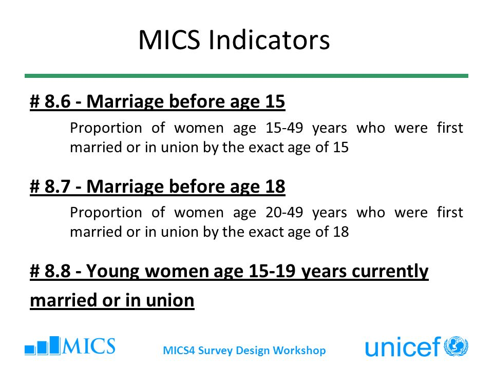 MICS Indicators # 8.6 - Marriage before age 15 Proportion of women age 15-49 years who were first married or in union by the exact age of 15 # 8.7 - Marriage before age 18 Proportion of women age 20-49 years who were first married or in union by the exact age of 18 # 8.8 - Young women age 15-19 years currently married or in union
