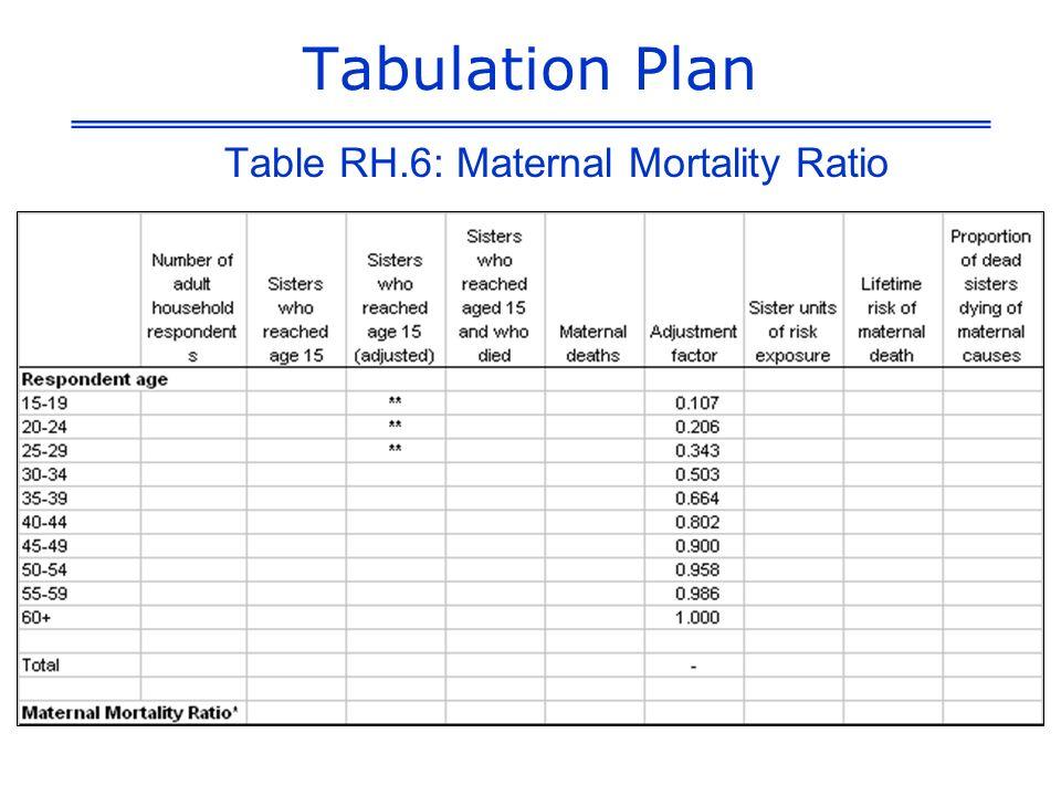 Tabulation Plan Table RH.6: Maternal Mortality Ratio