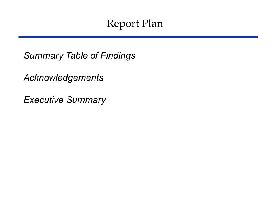 Report Plan Summary Table of Findings Acknowledgements Executive Summary