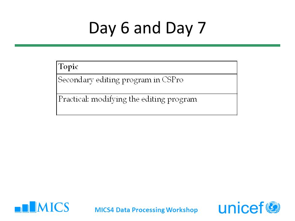 Day 6 and Day 7 MICS4 Data Processing Workshop