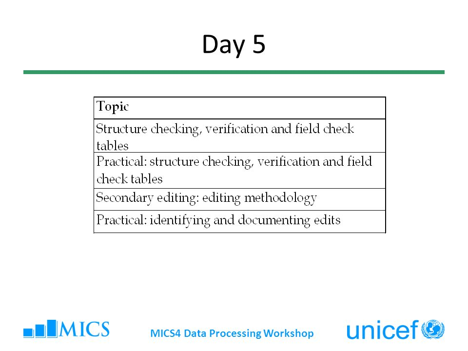 Day 5 MICS4 Data Processing Workshop