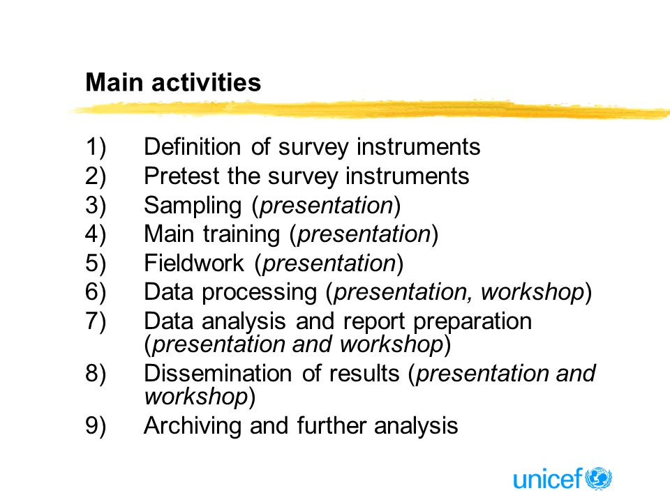 Main activities 1)Definition of survey instruments 2)Pretest the survey instruments 3)Sampling (presentation) 4)Main training (presentation) 5)Fieldwork (presentation) 6)Data processing (presentation, workshop) 7)Data analysis and report preparation (presentation and workshop) 8)Dissemination of results (presentation and workshop) 9)Archiving and further analysis