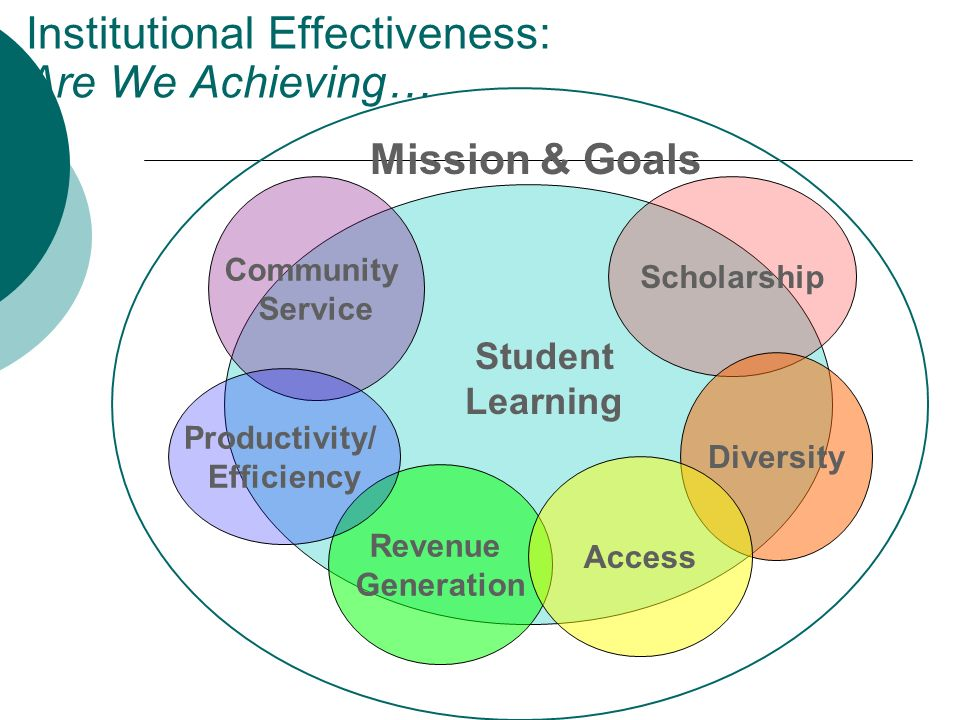 Institutional Effectiveness: Are We Achieving… Community Service Scholarship Diversity Revenue Generation Productivity/ Efficiency Student Learning Mi