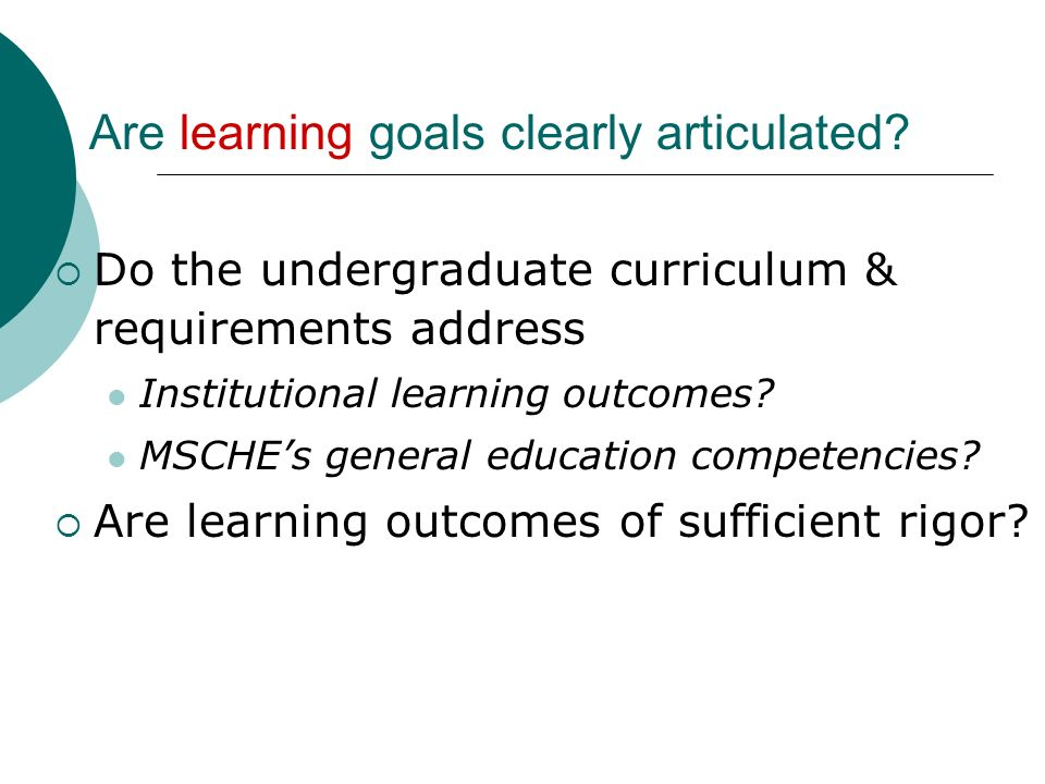 Are learning goals clearly articulated.