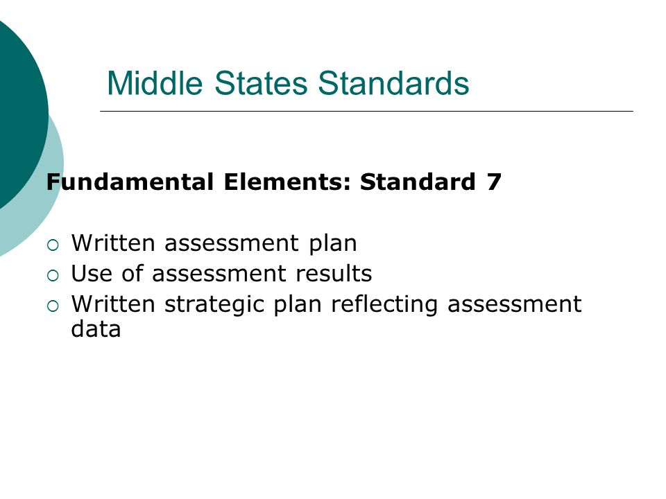 Middle States Standards Fundamental Elements: Standard 7 Written assessment plan Use of assessment results Written strategic plan reflecting assessment data