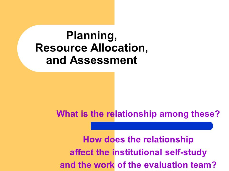 Planning, Resource Allocation, and Assessment What is the relationship among these? How does the relationship affect the institutional self-study and