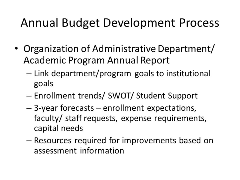 Annual Budget Development Process Organization of Administrative Department/ Academic Program Annual Report – Link department/program goals to institu
