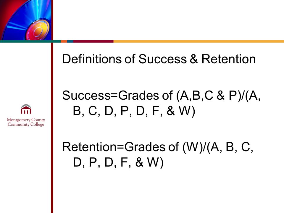 Definitions of Success & Retention Success=Grades of (A,B,C & P)/(A, B, C, D, P, D, F, & W) Retention=Grades of (W)/(A, B, C, D, P, D, F, & W)