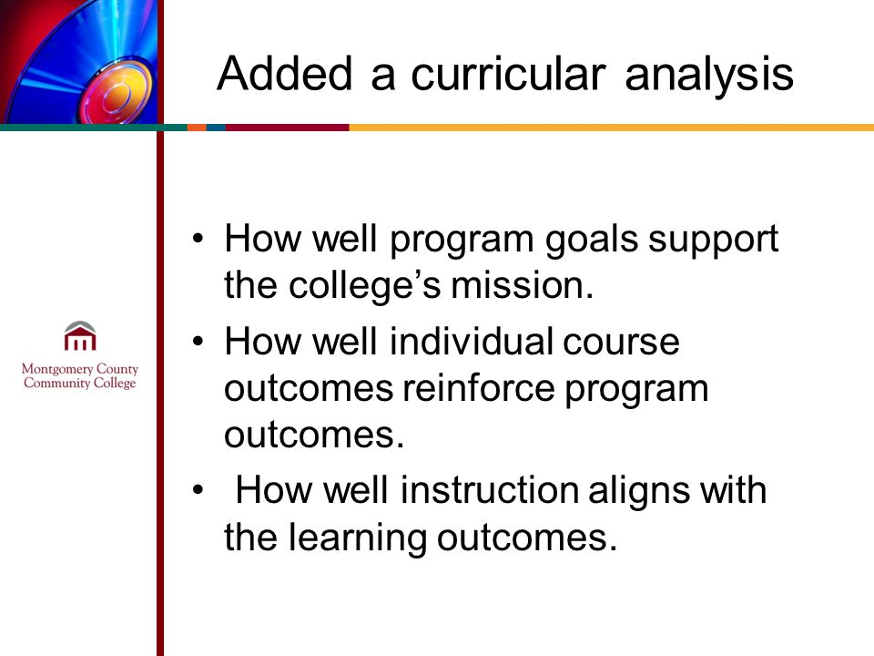 Added a curricular analysis How well program goals support the colleges mission. How well individual course outcomes reinforce program outcomes. How w