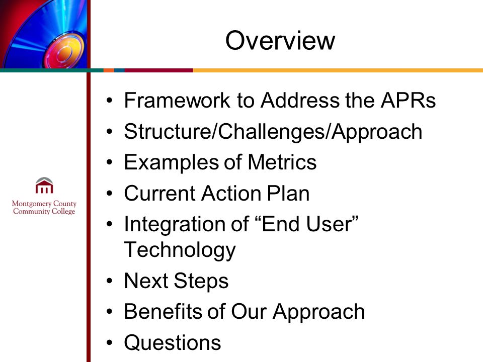 Overview Framework to Address the APRs Structure/Challenges/Approach Examples of Metrics Current Action Plan Integration of End User Technology Next Steps Benefits of Our Approach Questions