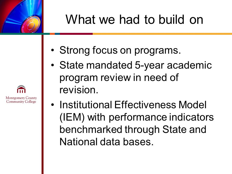 What we had to build on Strong focus on programs. State mandated 5-year academic program review in need of revision. Institutional Effectiveness Model