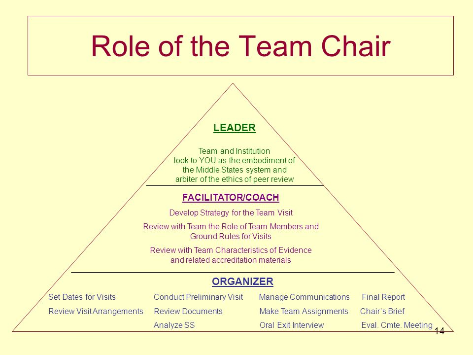 14 Role of the Team Chair ORGANIZER Set Dates for Visits Conduct Preliminary Visit Manage Communications Final Report Review Visit Arrangements Review Documents Make Team Assignments Chairs Brief Analyze SS Oral Exit Interview Eval.