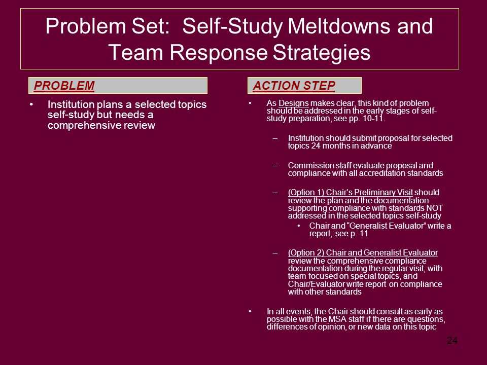 24 Problem Set: Self-Study Meltdowns and Team Response Strategies Institution plans a selected topics self-study but needs a comprehensive review As Designs makes clear, this kind of problem should be addressed in the early stages of self- study preparation, see pp.