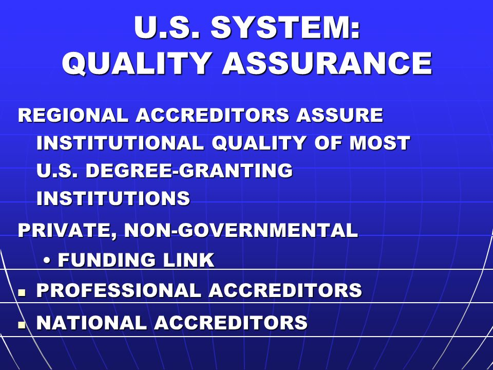 OTHER QUALITY ASSURANCE INQAAHE – GUIDELINES FOR GOOD PRACTICE INQAAHE – GUIDELINES FOR GOOD PRACTICE ENQA – HEIs, QAAs, EQAS ENQA – HEIs, QAAs, EQAS REGIONAL GROUPS OF EQAs REGIONAL GROUPS OF EQAs INTERNATIONAL ACCREDITORS INTERNATIONAL ACCREDITORS U.S.