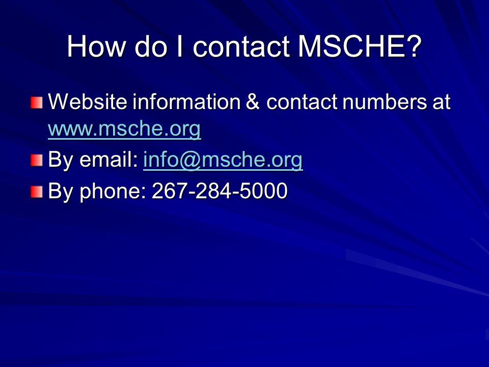 How do I contact MSCHE.
