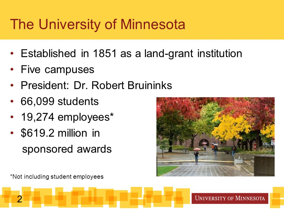 2 The University of Minnesota Established in 1851 as a land-grant institution Five campuses President: Dr.
